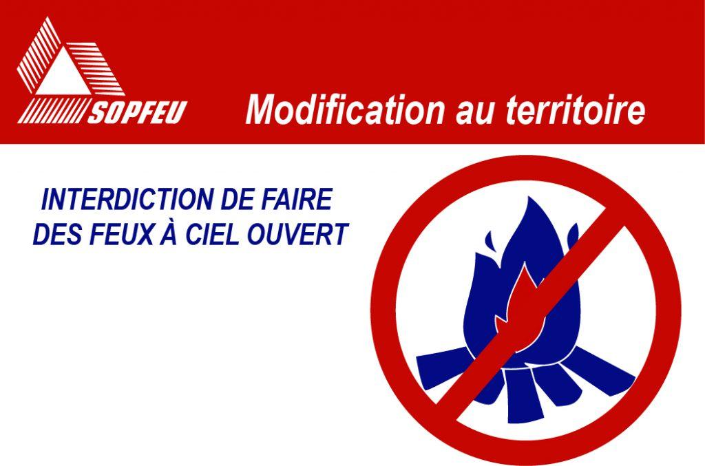 Modification de l'interdiction de faire des feux à ciel ouvert en ...
